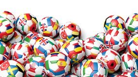 3d rendering Pile of classic soccer balls. Isolated on white with copy-space Royalty Free Stock Images