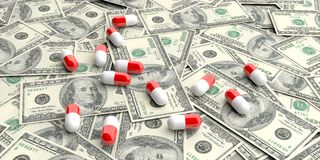 3d rendering pills on100 dollars banknotes Royalty Free Stock Image