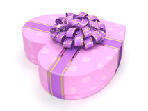 3D rendering Pink box heart. 3D rendering Pink boxe with heart shaped purple ribbon Stock Images