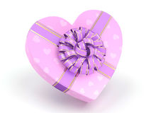 3D rendering Pink box heart. 3D rendering Pink boxe with heart shaped purple ribbon Stock Image
