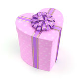 3D rendering Pink box heart. 3D rendering Pink boxe with heart shaped purple ribbon Royalty Free Stock Images