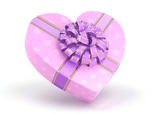 3D rendering Pink box heart. 3D rendering Pink boxe with heart shaped purple ribbon Stock Photography
