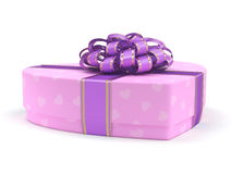 3D rendering Pink box heart. 3D rendering Pink boxe with heart shaped purple ribbon Royalty Free Stock Photo