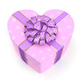 3D rendering Pink box heart. 3D rendering Pink boxe with heart shaped purple ribbon Royalty Free Stock Photography