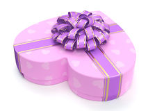 3D rendering Pink box heart. 3D rendering Pink boxe with heart shaped purple ribbon Stock Photo