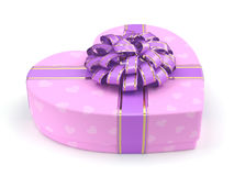 3D rendering Pink box heart. 3D rendering Pink boxe with heart shaped purple ribbon Royalty Free Stock Image