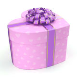 3D rendering Pink box heart. 3D rendering Pink boxe with heart shaped purple ribbon Stock Photos