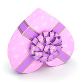 3D rendering Pink box heart. 3D rendering Pink boxe with heart shaped purple ribbon Royalty Free Stock Photos