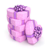 3D rendering Pink boxes heart Royalty Free Stock Photos