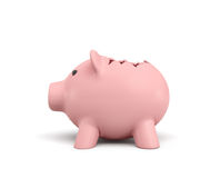 3d rendering of a pink ceramic piggy bank with a broken top on white background. Using your savings. Spending money. Open the coffers Royalty Free Stock Photos