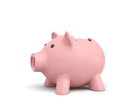 3d rendering of a pink ceramic piggy bank with a broken top on white background. Using your savings. Spending money. Open the coffers Royalty Free Stock Images