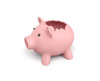 3d rendering of a pink ceramic piggy bank with a broken top on white background. Using your savings. Spending money. Open the coffers Stock Photo