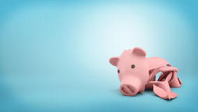 3d rendering of a pink ceramic piggy bank completely broken up into several large pieces. Stock Images