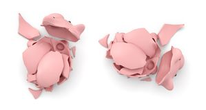 3d rendering of a pink ceramic piggy bank completely broken up into several large pieces in top view. Stock Photo