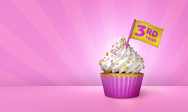 3D Rendering of Pink Cupcake, Gold Stripes around Cupcake. 3rd Year Text on the Flag, Pink Paper Cupcake Stock Photo