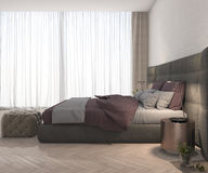 3d rendering pink fabric bedroom with lamp and minimal decor curtain. 3d rendering interior and exterior design Royalty Free Stock Images