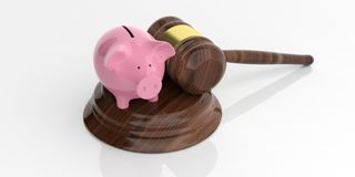 3d rendering pink piggy bank and auction gavel. On white background Stock Photography