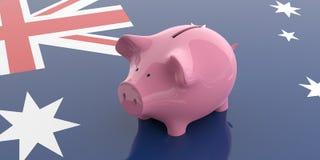 3d rendering pink piggy bank on Australia flag vector illustration
