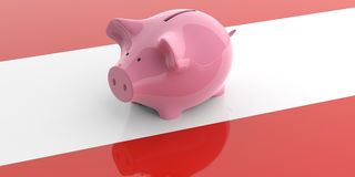 3d rendering pink piggy bank on Austria flag Royalty Free Stock Image