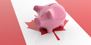 3d rendering pink piggy bank on Canada flag. 3d rendering pink piggy bank isolated on Canada flag Stock Photography