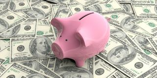 3d rendering pink piggy bank on 100 dollar banknotes Stock Photo