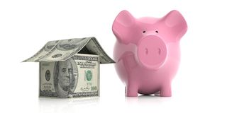 3d rendering pink piggy bank and a dollars house. On white background Stock Photo