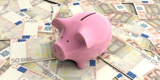 3d rendering pink piggy bank on 50 euro banknotes. 3d rendering pink piggy bank isolated on 50 euro banknotes Stock Photography