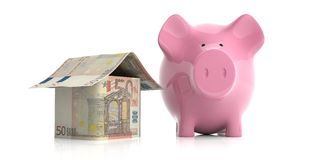 3d rendering pink piggy bank and a euros house. On white background Royalty Free Stock Photos