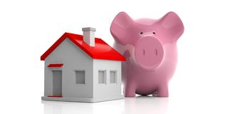 3d rendering pink piggy bank and a house. On white background Royalty Free Stock Image