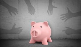 3d rendering of a pink piggy bank stands on a grey concrete background with many shadow hands trying to catch it. Stock Photos