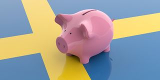 3d rendering pink piggy bank on Sweden flag Royalty Free Stock Photo