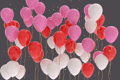 3D rendering of pink, red, white balloons on gray background Stock Image