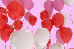 3D rendering of pink, red, white balloons on pink. Background Stock Photo