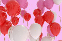3D rendering of pink, red, white balloons on pink background. With glitter Royalty Free Stock Photography