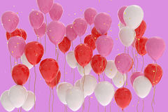 3D rendering of pink, red, white balloons on pink background. With glitter Stock Photography