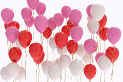 3D rendering of pink, red, white balloons on white background Royalty Free Stock Photo