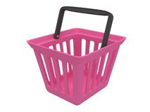 3D rendering of pink shopping basket. 3D rendering of pink plastic shopping basket isolated on white. Sales, market, shop concept Royalty Free Stock Photography