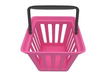 3D rendering of pink shopping basket Royalty Free Stock Photo