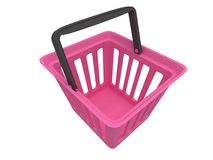 3D rendering of pink shopping basket Stock Images