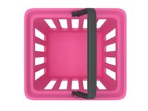 3D rendering of pink shopping basket Stock Image