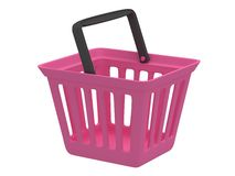 3D rendering of pink shopping basket Stock Photography