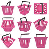 3D rendering of pink shopping basket. Set. Stock Image