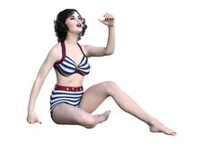 3D Rendering Pinup Girl on White. 3D rendering of a vintage pinup girl isolated on white background Stock Photos