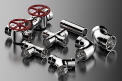 Pipe joint and valve. 3d rendering pipe with pipe joint and valve Stock Image