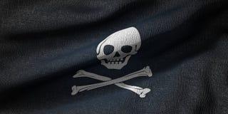 3d rendering pirat flaga z tkaniny teksturą ilustracja wektor