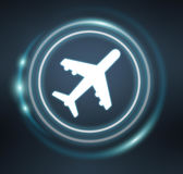 3D rendering plane icon with circles Royalty Free Stock Photos