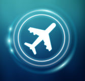 3D rendering plane icon with circles Stock Photography