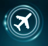 3D rendering plane icon with circles. On dark background Stock Photo