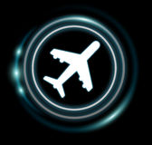 3D rendering plane icon with circles Stock Photo