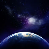 3d rendering: Planet Earth in outer space. Imaginary view of planet earth in a star field Royalty Free Stock Photo